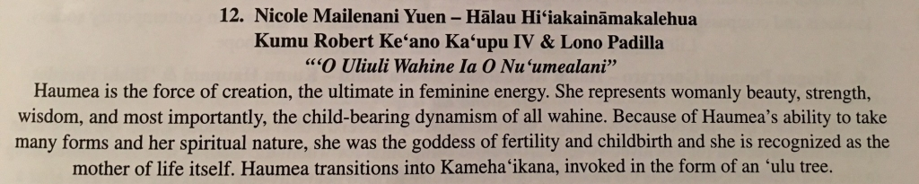 Excerpt from the 2018 Merrie Monarch Festival program - Miss Aloha Hula - Kahiko